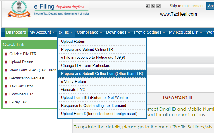 Upload Form 15CA