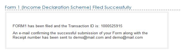 Form 1 efiling steps -Income declaration scheme 2016