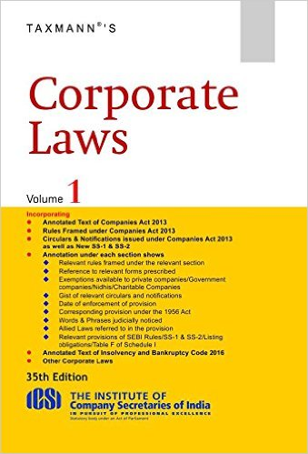 Corporate Laws -35th Edition 2017 by Taxmann