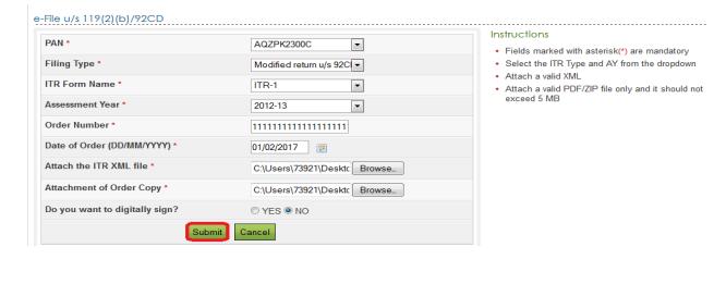 e-File u/s 119(2)(b)/92CD