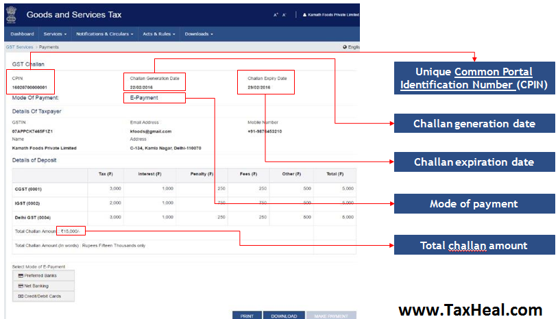 Reference Screenshot of Generated GST Challan from GST Portal