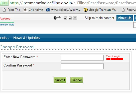 reset Income tax efiling Password