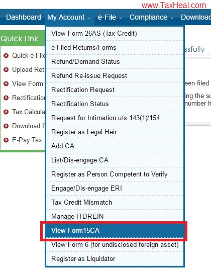 Upload Form 15CA