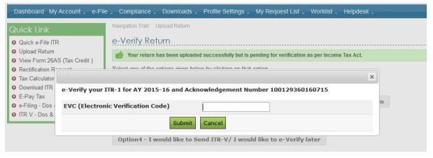 e-Verification of Income tax Returns