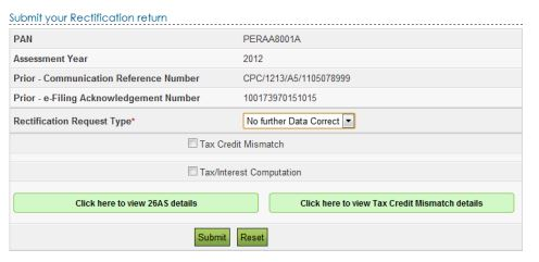 Rectification Request for Income Tax Return