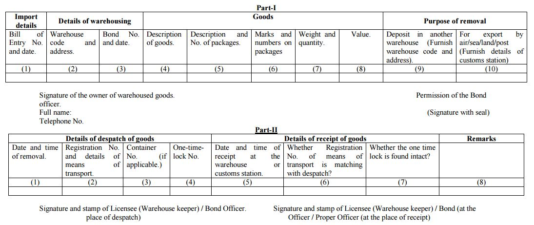 Warehoused Goods (Removal) Regulations, 2016.