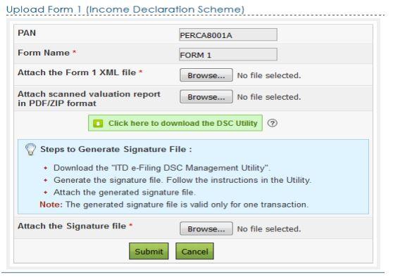 Form 1 efiling steps -Income declaration scheme 2016