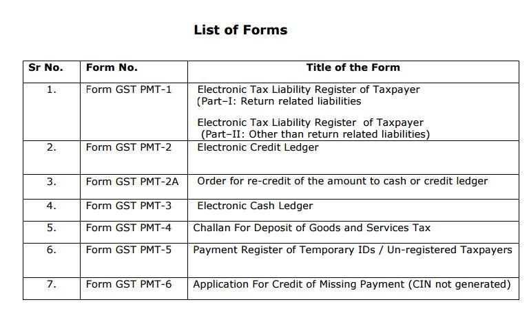 GST Payment format