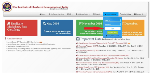 register to get CA result on email