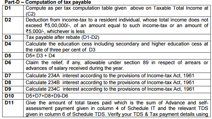 ITR-1 SAHAJ A.Y. 2017-18 -Instructions for filling issued by CBDT