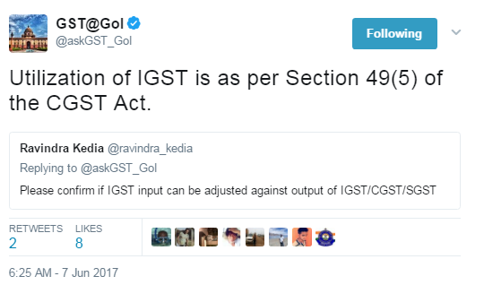 whether IGST input can be adjusted against output of IGST/CGST/SGST