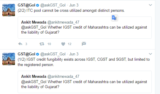 GST  ITC cannot be cross utilized amongst distinct persons.