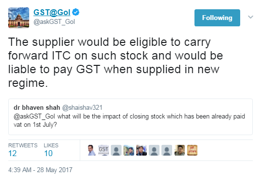 GST Impact of closing stock on which vat has already been paid on 1st July 2017