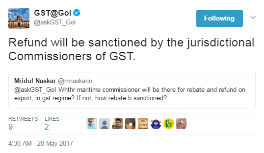 Who will sanction refund in case of Exports under GST