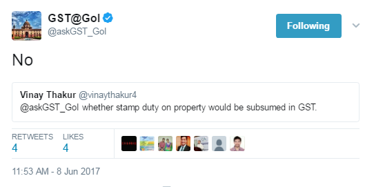 Stamp duty on property not subsumed in GST