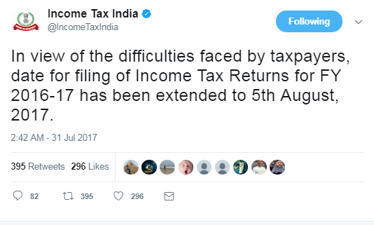 Income Tax Return Date Extended for AY 2017-18 (FY 2016-17)