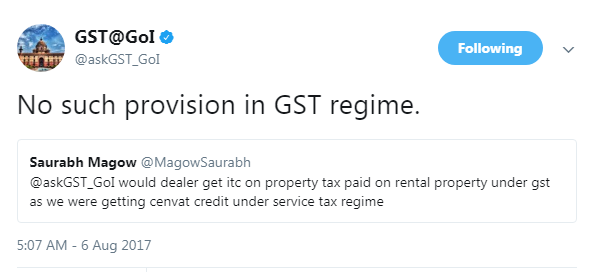 NO GST ITC on property tax paid on rental property