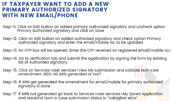 Add new Primary Authorized signatory  with new Email /Phone in GST Registration