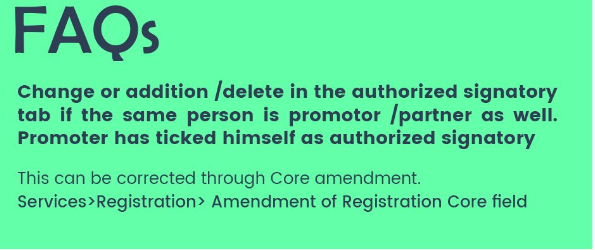 amend Authorized Signatory Tab of GST Registration if same person is Promoter as well as Partner