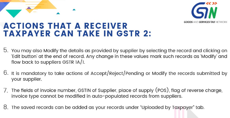 Taxpayers guide while taking actions in Form GSTR 2