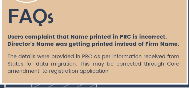 correct name incorrectly printed in GST Provisional Registration Certificate