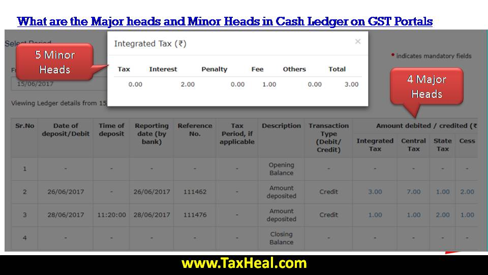 Major Heads and Minor Heads in Cash Ledger on GST Portals