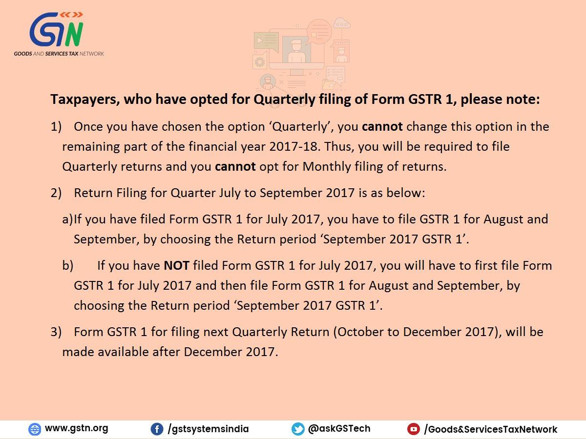 Quarterly filing of Form GSTR 1 : Advisory for Taxpayers