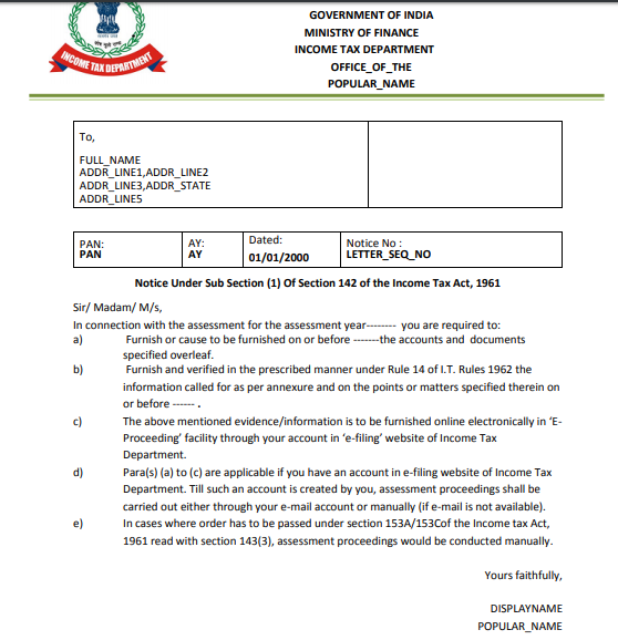 Income Tax Notice u/s 142 in New Format