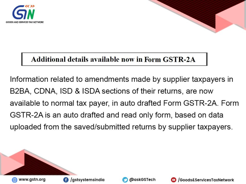 GSTR 2A additional Details