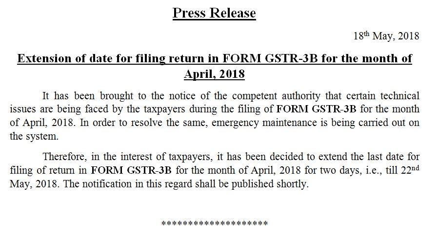 GSTR 3b April 2018 date extended