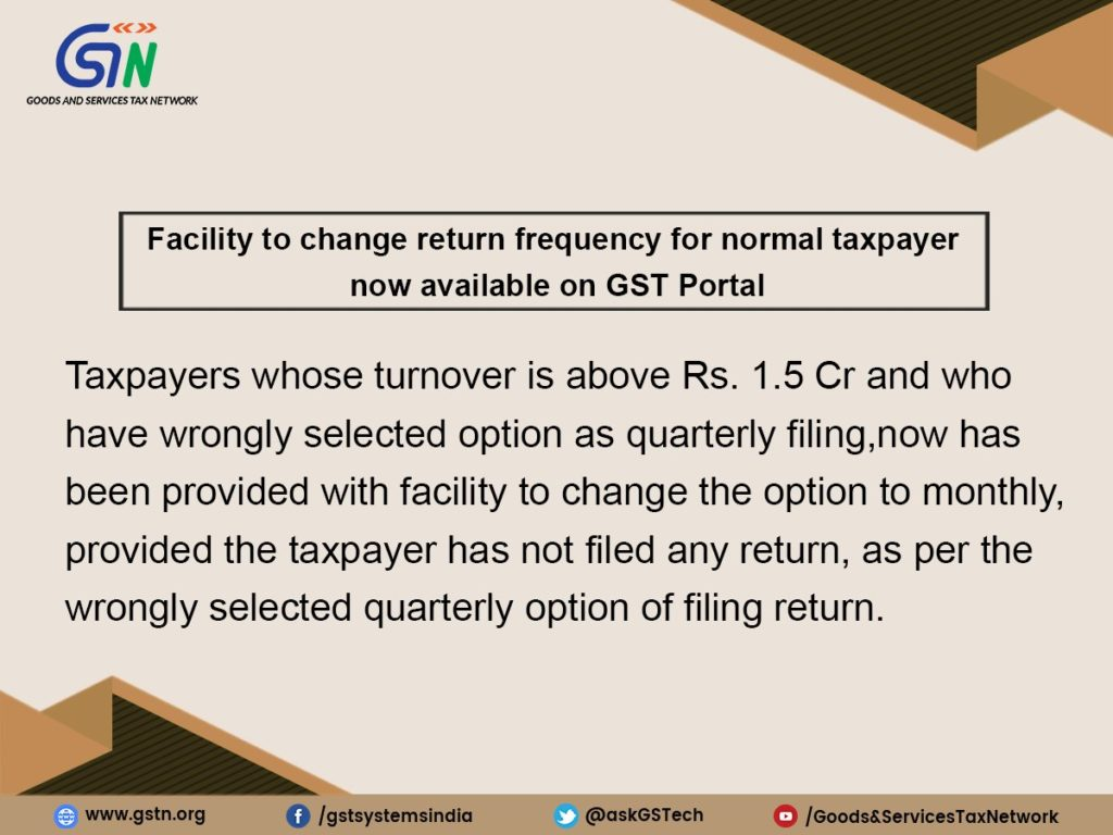 gst return option from quartely to monthly