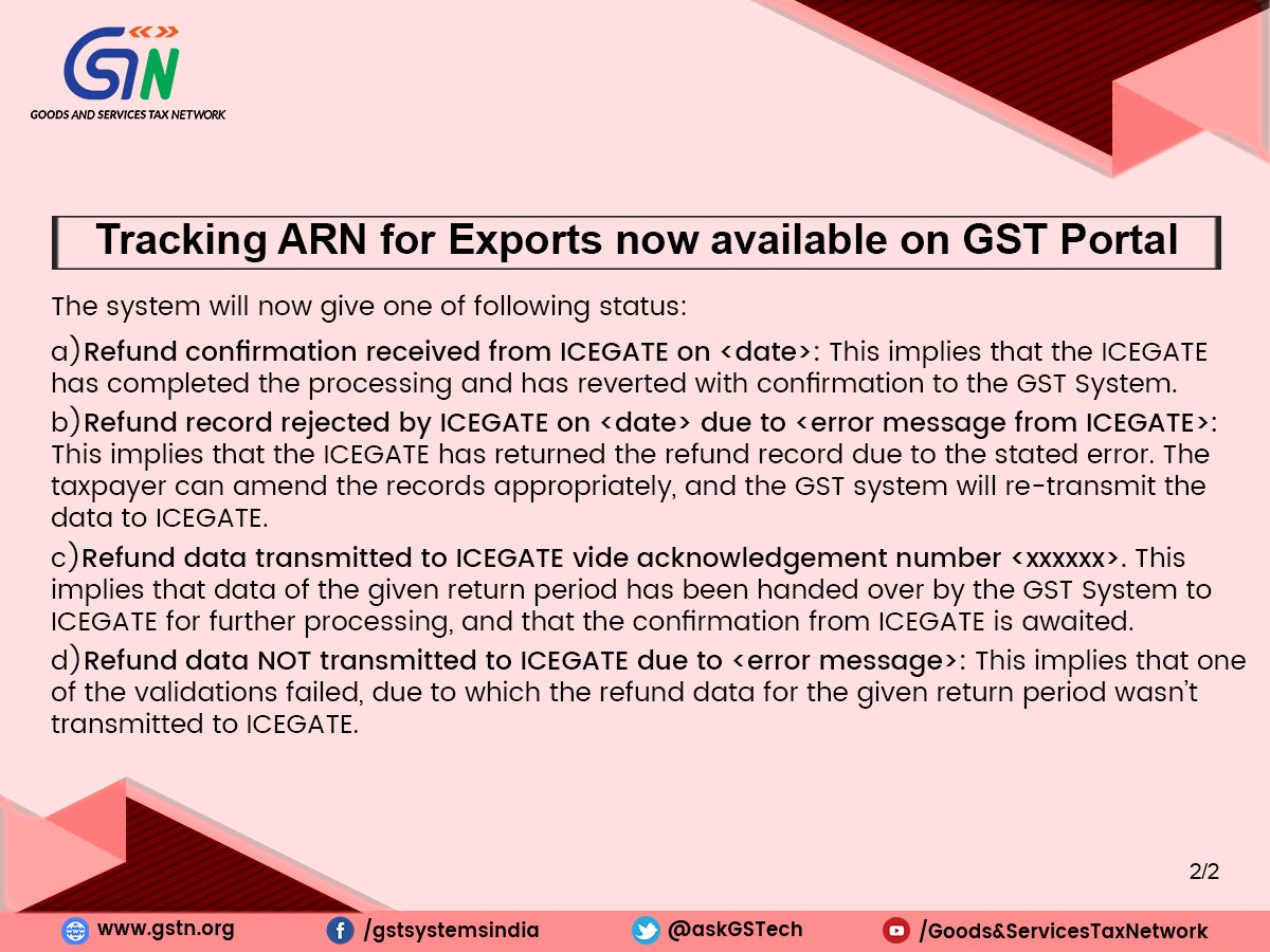 Tracking ARN for Exports is now available on GST Portal.