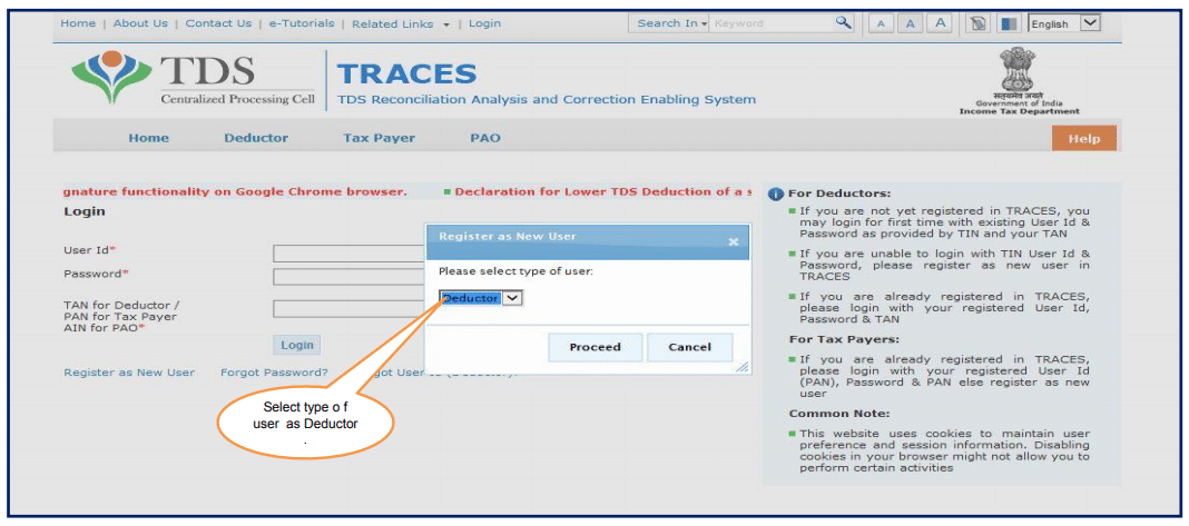 How to register on Traces as Deductor