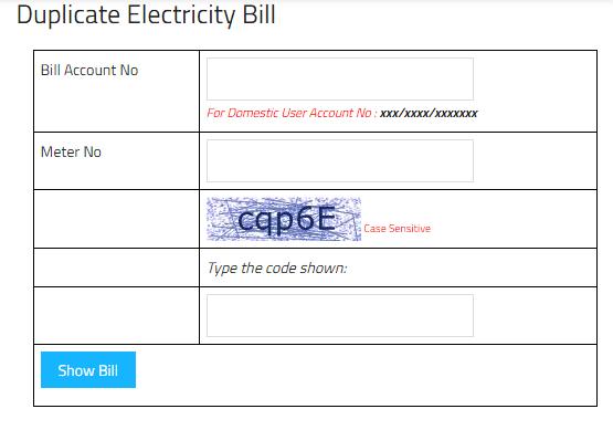 Download Chandigarh Duplicate Electricity Bill